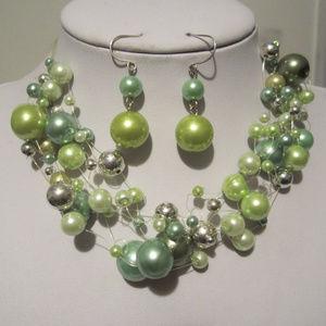 Jewelry - Multi Green Faux Pearl Choker Necklace Earring Set